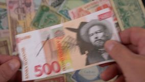 Old banknotes. Scattered on the table stock video footage