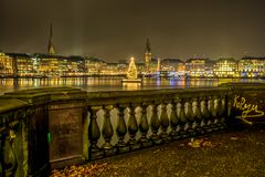 Old Bannister of Lombards Bridge with view onto Christmas Market royalty free stock image