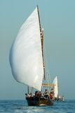 Old baot. Old kuwaiti boat sailling in kuwait sea by young team Royalty Free Stock Image