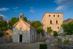 Old Bar fortress buildings at sunset, Montenegro Royalty Free Stock Photos
