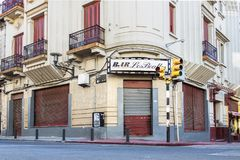 The Old bar Los Beatles at Montevideo, Uruguay. Montevideo, Uruguay - February 25th, 2018: The cafe Los Beatles at a corner of Perez Castellano street and Stock Photos