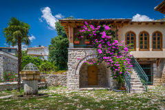 Old Bar touristic town center. Renovated ancient building and drinkable water taps for tourists. Bar, Montenegro Royalty Free Stock Image