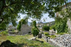 Old Bar town with modern Bar town. OLD BAR TOWN, MONTENEGRO - AUGUST 22th, 2015: Ruins of the Old Bar town on the background of the modern Bar town, Montenegro Royalty Free Stock Photography
