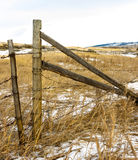 Old barbed wire gate at a ranch near Lumbreck Fall. Perimeter fencing of a ranch near Lumbreck Falls Alberta Royalty Free Stock Images