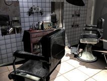 Old barber shop. Interior of an old barber shop, with ancient furniture, old fashioned chairs and an old radio vector illustration