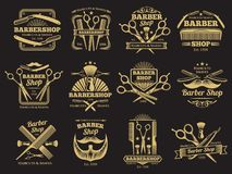 Old barbershop vector emblems and labels. Old golden barbershop vector emblems and labels. Vintage male haircut signs illustration Royalty Free Stock Photos