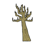 Old bare tree cartoon. Hand drawn cartoon illustration in retro style.  Vector available Stock Photography