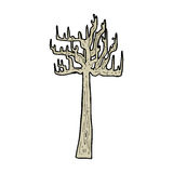 Old bare tree cartoon. Hand drawn cartoon illustration in retro style.  Vector available Royalty Free Stock Photo