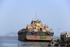 Old Barge in Arabian sea Royalty Free Stock Photography