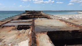 Old barge on the Black Sea. Old sunken rusty barge on the Black Sea stock footage