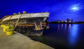 Old barge at night Royalty Free Stock Image