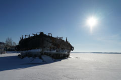 Old barge. River rusty used ark old water metal winter stock photo