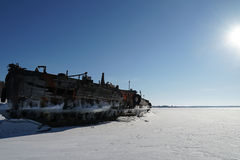 Old barge. River rusty used ark old water metal winter royalty free stock photo