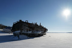 Old barge. River rusty used ark old water metal winter royalty free stock image