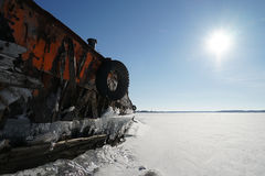 Old barge. River rusty used ark old water metal winter royalty free stock photos
