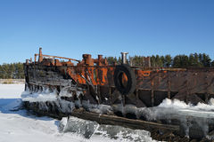 Old barge. River rusty used ark old water metal winter stock photos