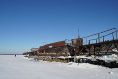 Old barge. River rusty used ark old water metal winter royalty free stock photography