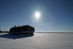 Old barge. River rusty used ark old water metal winter stock images