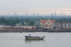 Old barge on Saigon River Royalty Free Stock Photography