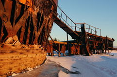 Old barges. Barges old rusty river winter ship ark background bank stock photos