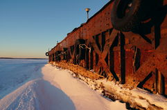 Old barges. Barges old rusty river winter ship ark background bank stock photo