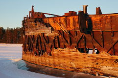 Old barges. Barges old rusty river winter ship ark background bank royalty free stock images