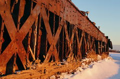 Old barges. Barges old rusty river winter ship ark background bank stock images