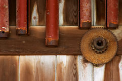 Old Barm Wall. Inside of an old barn wall with rusted implements Royalty Free Stock Images