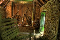 Old Barn. Inside an old barn with antique Royalty Free Stock Photos