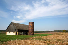 Old Barn. And Silo in field Royalty Free Stock Image