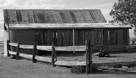 Old Barn. An old barn close up in black and white Royalty Free Stock Photography