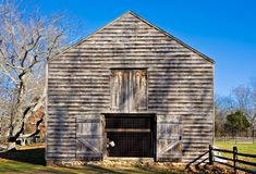 Old Barn. An old barn in Allaire Village, New Jersey. Allaire village was a bog iron industry town in New Jersey during the early 19th century Stock Image