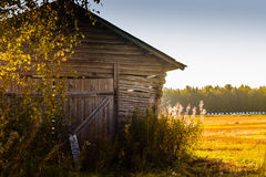 Old Barn Bathing In The Sun. The autumn sun warms up the walls of the old barn house in the rural Finland royalty free stock photos