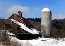 Old Barn with Cupola and Silo Royalty Free Stock Photo