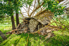Old Barn Damaged By Recent Hurricane Royalty Free Stock Photography
