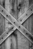 Old Barn Door (BW). Barn door constructed using authentic mid-1800's American Frontier materials - ponderosa pine - and style (black and white image royalty free stock images