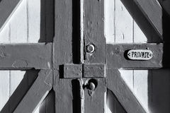 Old Barn Door Marked Private Stock Photo