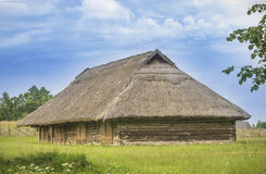 Old barn for farm animals, Lithuania Stock Photo