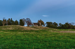 Old barn in a farm meadow near Des Moines, Iowa stock images