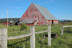 Old barn and fence, Oregon. Stock Photo