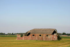 Old barn on a field. Royalty Free Stock Images