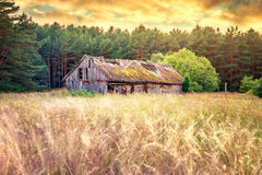 Old barn field. Old barn or shed in field, long exposure Royalty Free Stock Photography