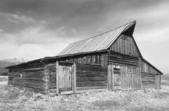 Old Barn - Grayscale. Old Barn by the Mountains royalty free stock photo