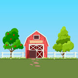 Old Barn and green field. High quality original trendy vector illustration of old Barn and green field with apple tree on background Royalty Free Stock Photo