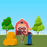 Old Barn and green field. High quality original trendy vector illustration of farmer with hayfork near old Barn and green field with apple tree on background Royalty Free Stock Photography
