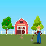 Old Barn and green field. High quality original trendy vector illustration of farmer with showel near old Barn and green field with apple tree on background Royalty Free Stock Photos