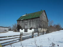 Old Barn. With green roof top Stock Photography