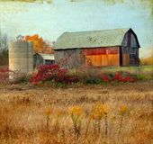 Old Barn on a Grunge Background Stock Images