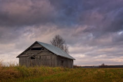 Old Barn House Under The Autumn Skies Stock Photography
