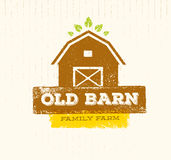Old Barn Local Farm Creative Sign Concept. Organic Food Fresh Healthy Eco Green Vector Banner Concept. On Rustic Background. From Farm To Table Vector Stock vector illustration